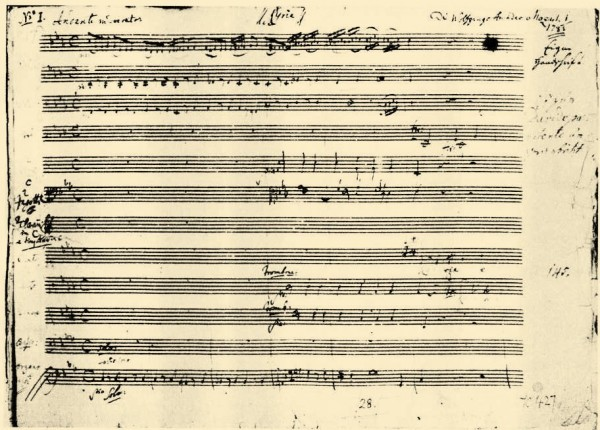 Mozart's score of the opening «Kyrie eleison». Photo Wikipedia