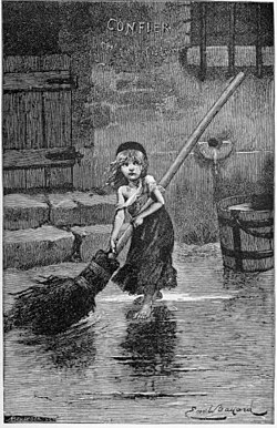 Émile Bayards illustrasjon fra Victor Hugos roman i 1862 benyttes i beskåret utgave som musikalens emblem og plakat.