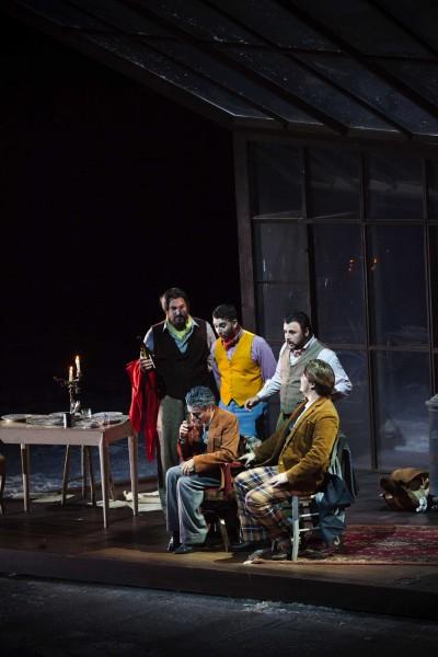 La Bohème. 1st act, the four friends with Benoit