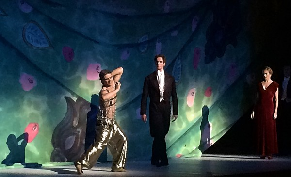 From left Francesco Gabriele Frola, as Nijinsky - Slave from Esmeralda, Evan McKie as Diaghilev and Heather Ogden as Romula Nijinska. Foto Henning Høholt