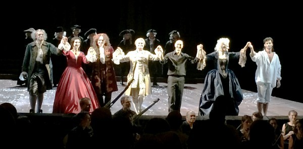 Aplaus, last night in Innsbruck: From right David Hansen, Klara Ek, Alessandro De Marchi, Patricia Bardon, Hagen Matzeit, Emilie Renard and Carlo Vincenzo Allemano, Foto Henning Høholt